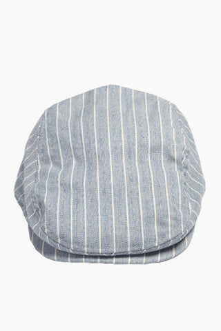 DAVID & YOUNG Herringbone Stripe Newsboy Cap - Blue Hat | | David & Young Herringbone Stripe Newsboy Cap - Blue  front view
