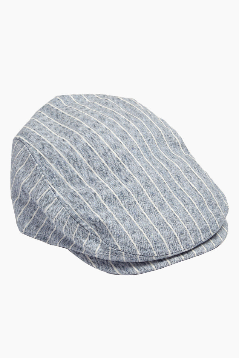 DAVID & YOUNG Herringbone Stripe Newsboy Cap - Blue Hat | | David & Young Herringbone Stripe Newsboy Cap - Blue side view