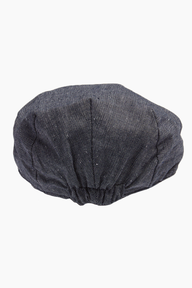DAVID & YOUNG Speckled Chambray Newsboy Cap - Slate Hat | | David & Young Speckled Chambray Newsboy Cap back view