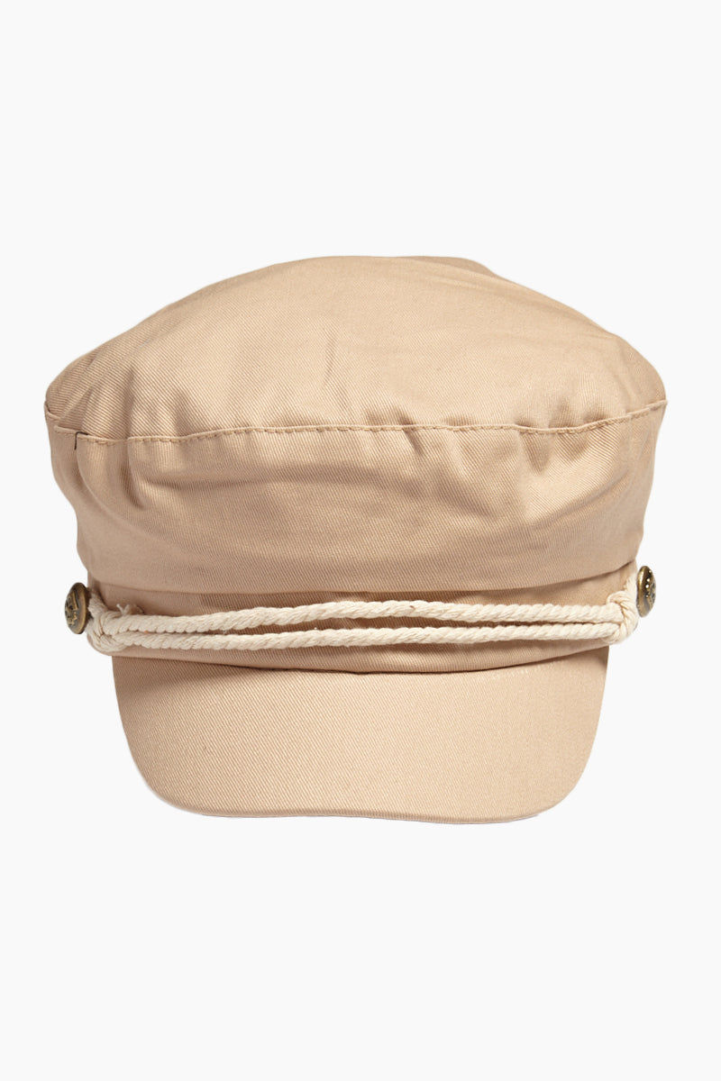 DAVID & YOUNG Solid Fisherman Cabbie - Beige Hat | | David & Young Solid Fisherman Cabbie - Beige  Front View Fisherman Cap  Tan Roped Accent with Side Button  Cinched Back Elastic Band
