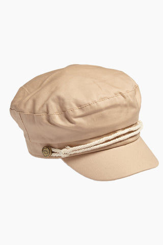 DAVID & YOUNG Solid Fisherman Cabbie - Beige Hat | | David & Young Solid Fisherman Cabbie - Beige  Side View Fisherman Cap  Tan Roped Accent with Side Button  Cinched Back Elastic Band