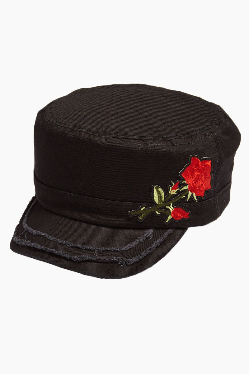 DAVID & YOUNG Embroidered Floral Distressed Cadet Cap - Black Hat | | David & Young Embroidered Floral Distressed Cadet Cap - Black side view