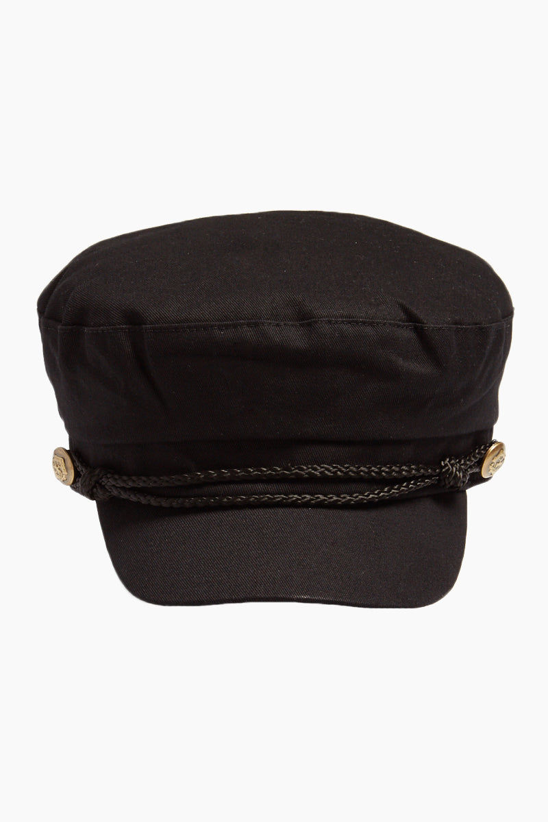 DAVID & YOUNG Fisherman Cabbie Cap With Cord - Black Hat | |David & Young Fisherman Cabbie Cap With Cord - Black front view