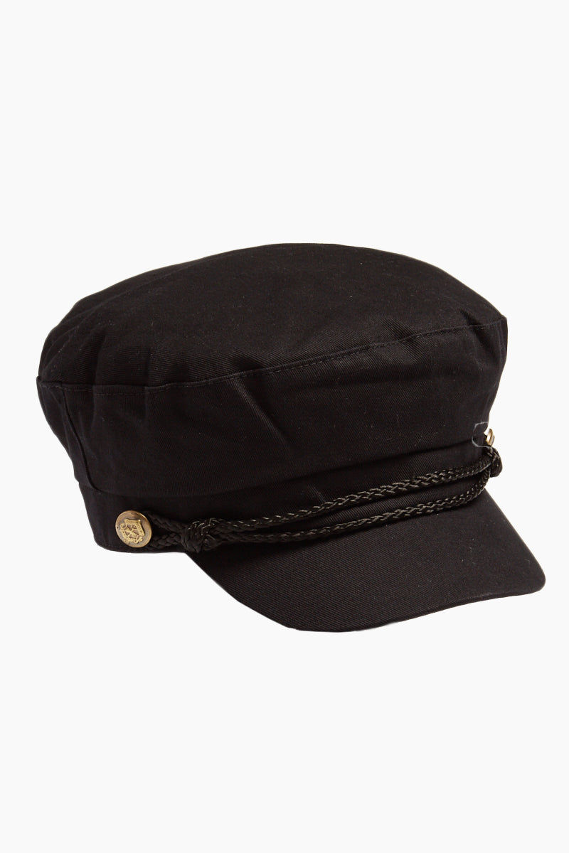 DAVID & YOUNG Fisherman Cabbie Cap With Cord - Black Hat | |David & Young Fisherman Cabbie Cap With Cord - Black side view