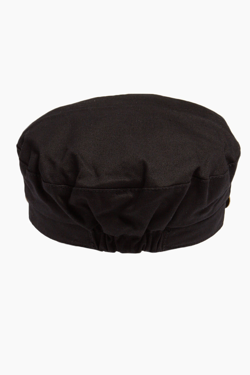 DAVID & YOUNG Fisherman Cabbie Cap With Cord - Black Hat | |David & Young Fisherman Cabbie Cap With Cord - Black back view
