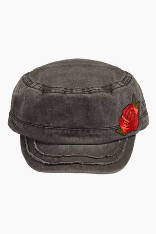 DAVID & YOUNG Embroidered Floral Distressed Cadet Cap - Grey Hat | | David and Young Embroidered Floral Distressed Cadet Cap - Grey front view