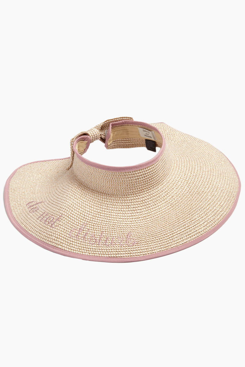 DAVID & YOUNG Do Not Disturb Slogan Roll-Up Visor With Bow - Pink Hat | Pink| David & Young Pink Do Not Disturb Slogan Roll-Up Visor With Bow open front view