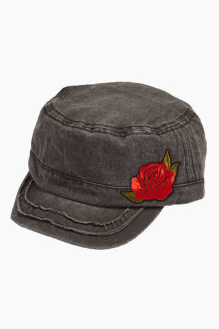 DAVID & YOUNG Embroidered Floral Distressed Cadet Cap - Grey Hat | | David and Young Embroidered Floral Distressed Cadet Cap - Grey side view
