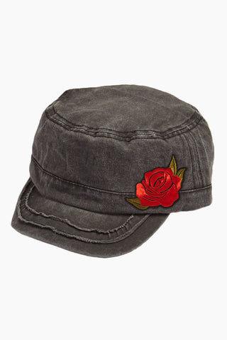 DAVID   YOUNG Embroidered Floral Distressed Cadet Cap - Grey Hat  9a7de6f5e1c