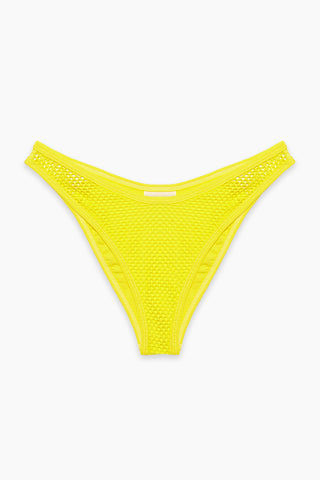 L SPACE Stevie Mesh Cheeky Bikini Bottom - Canary Yellow Bikini Bottom | Canary Yellow|L SPACE Stevie Mesh Cheeky Bikini Bottom - Canary Yellow Features:  High-cut leg Mesh overlay throughout Cheeky coverage Side cut out with mesh overlay Low rise Flat Lay View