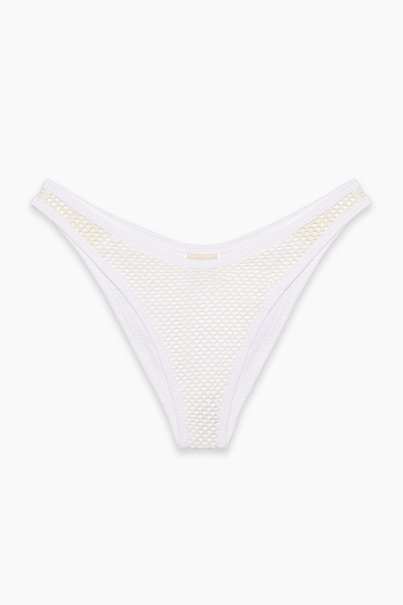 L SPACE Stevie Mesh Cheeky Bikini Bottom - White Bikini Bottom | White|L SPACE Stevie Mesh Cheeky Bikini Bottom - White.  Features:  High-cut leg Mesh overlay throughout Cheeky coverage Side cut out with mesh overlay Low rise Flatlay View