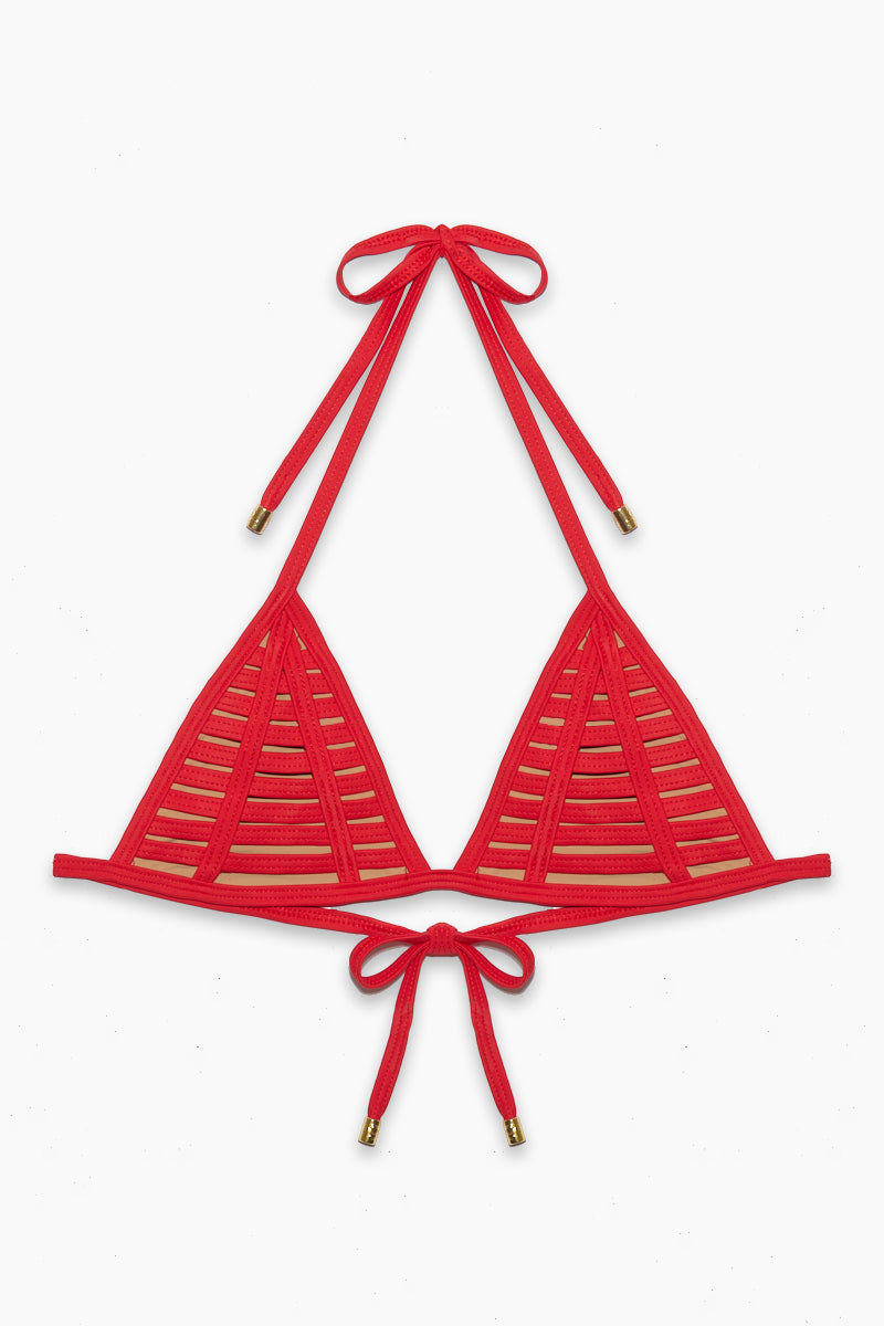 BEACH BUNNY Hard Summer Tri Bikini Top - Red Bikini Top | Red| Beach Bunny Hard Summer Tri Top - Red top view Triangle Top  Halter Neck Tie Strappy binding is fully lined with nude fabric  Ties at Center Back