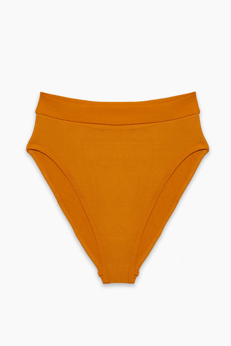 L SPACE Frenchi High Waist Bikini Bottom - Inka Gold Bikini Bottom | Inka Gold| L Space Frenchi High Waist Bikini Bottom - Inka Gold High Waist Thick Waistband High Cut Ribbed Fabric Cheeky Coverage Flatlay View