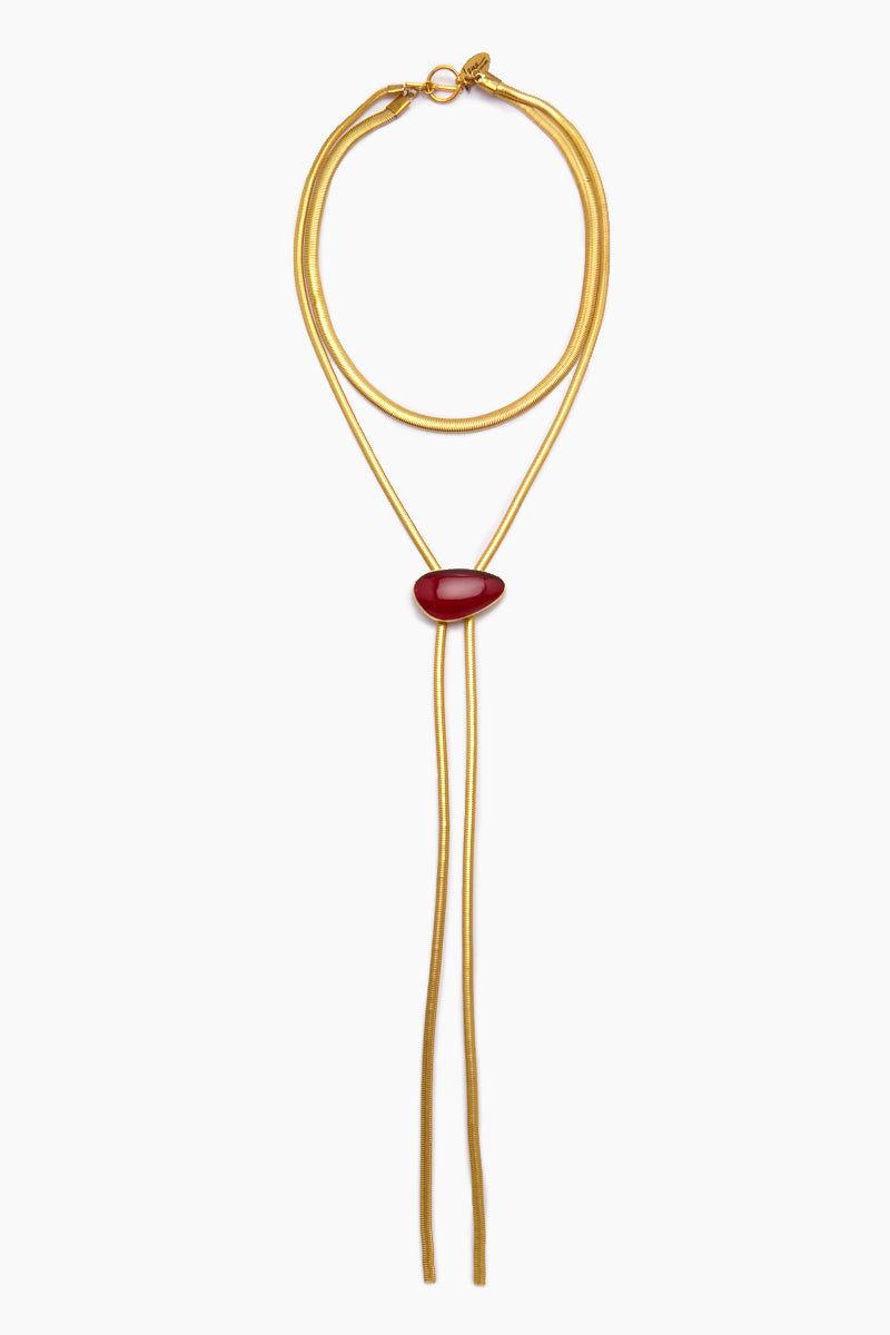 LENA BERNARD Niu Red Quartz Pendant Gold Lasso Necklace Jewelry | Niu Necklace - Red Quartz/Gold