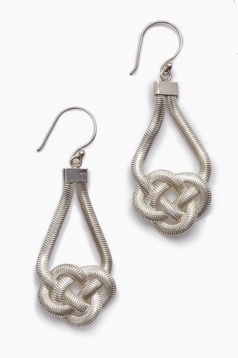 LENA BERNARD Sabha Knotted Silver Fishtail Chain Dangle Earrings Jewelry | Sabha Earring - Silver