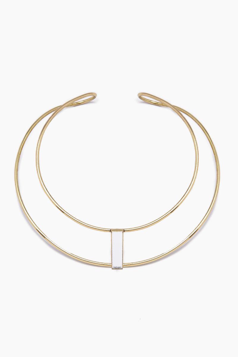 LENA BERNARD Daris Mirrored Pendant Gold Brass Double Collar Necklace Jewelry   Daris Collar - Gold