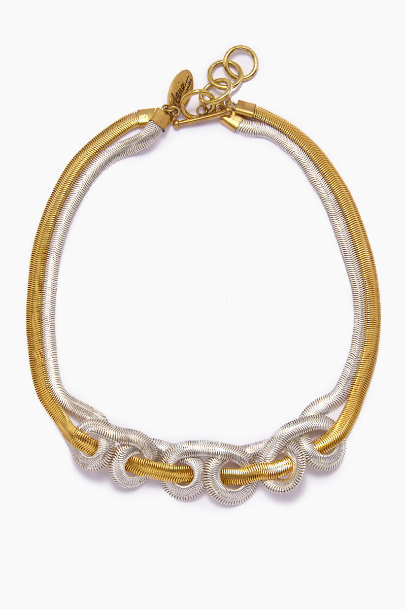LENA BERNARD Sekai Knotted Gold & Silver Fishtail Collar Necklace Jewelry | Sekai Necklace - Mixed Gold/Silver
