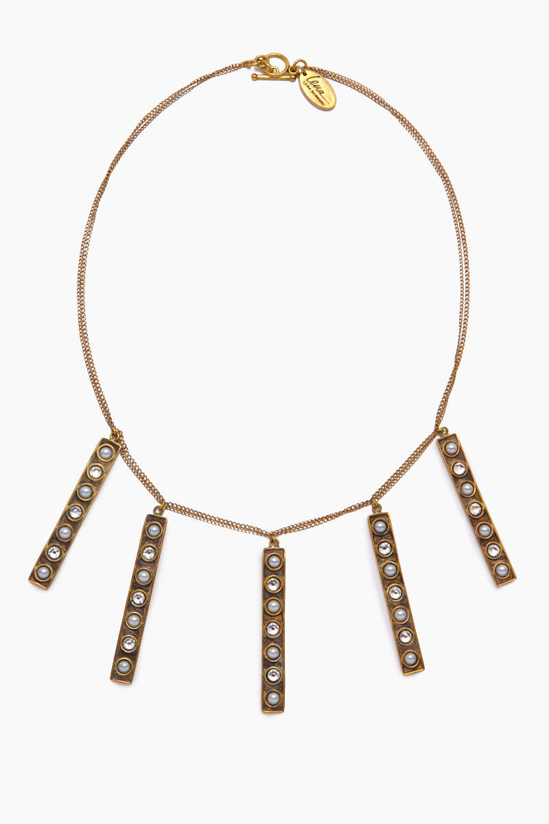 LENA BERNARD Stella Pearl & Crystal Stick Charms Gold Necklace Jewelry | Stella Necklace - Gold/Mix Cz & Pearl