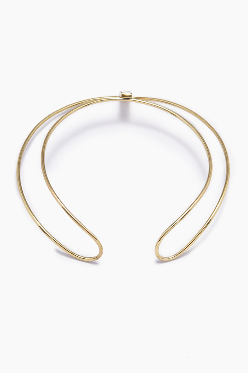 LENA BERNARD Daris Mirrored Pendant Gold Brass Double Collar Necklace Jewelry | Daris Collar - Gold