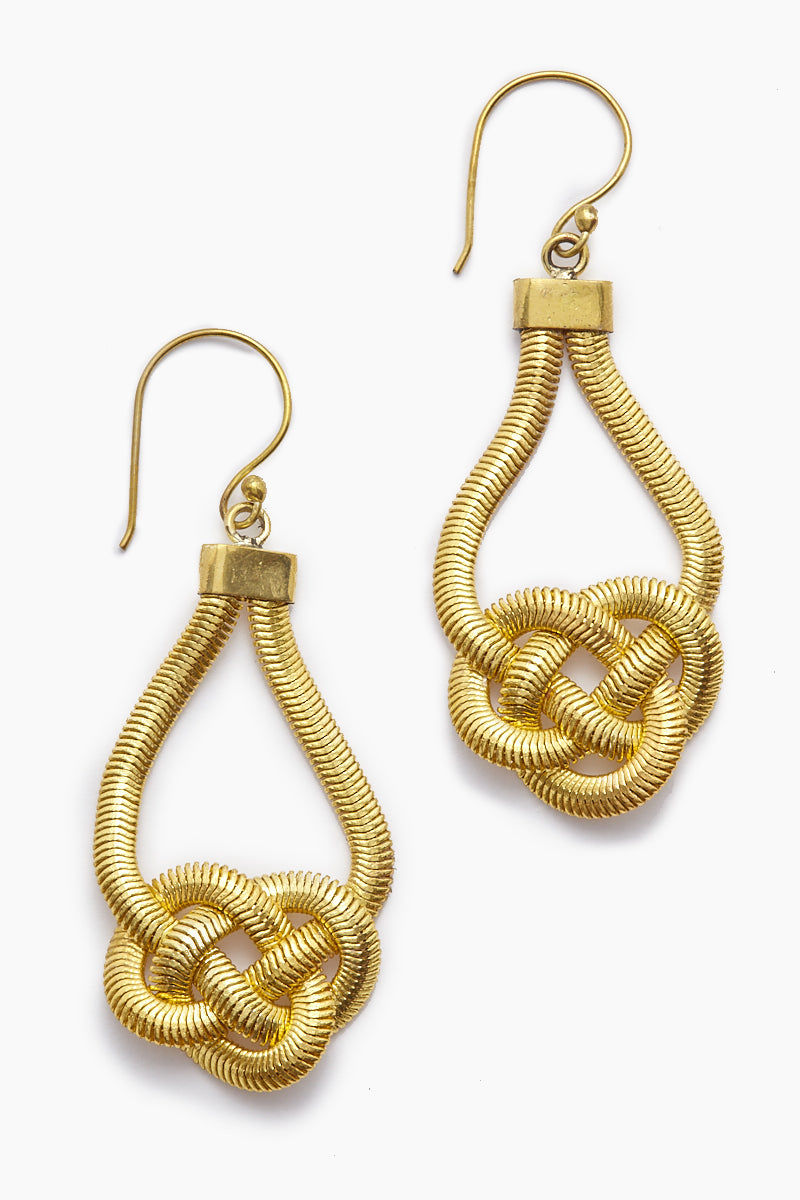 LENA BERNARD Sabha Knotted Gold Fishtail Chain Dangle Earrings Jewelry | Sabha Earring - Gold
