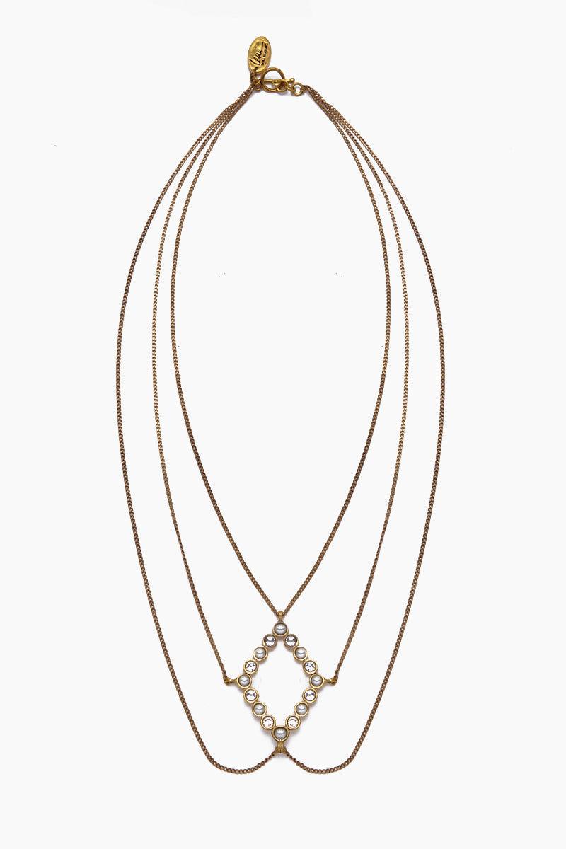 LENA BERNARD Amelia Pearl & Crystal Gold Layered Necklace Jewelry | Amelia Necklace - Gold/Mix Cz & Pearl