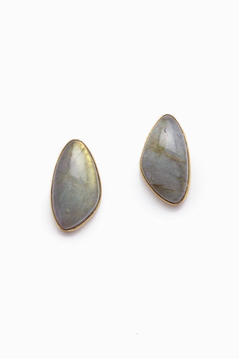 LENA BERNARD Naenia Labradorite Gold Stud Earrings Jewelry   Naenia Studs - Labradorite/Gold