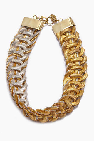LENA BERNARD Sidika Woven Gold & Silver Snake Chain Collar Necklace Jewelry | Sidika Collar - Mixed Gold/Silver