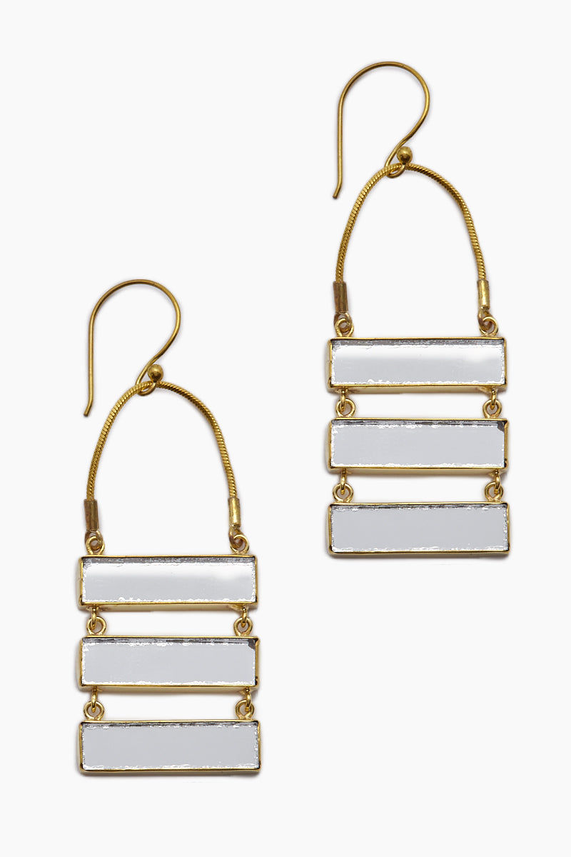 LENA BERNARD Damianis Mirrored Gold Brass Dangle Earrings Jewelry | Damianis Earring - Gold