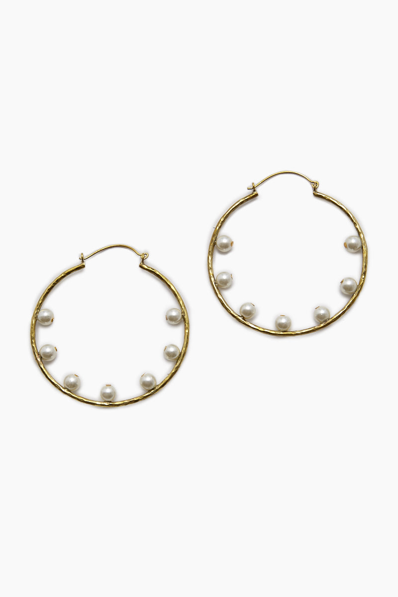 LENA BERNARD 7 Pearl Gold Hoop Earrings Jewelry | 7 Perla Hoops - Gold