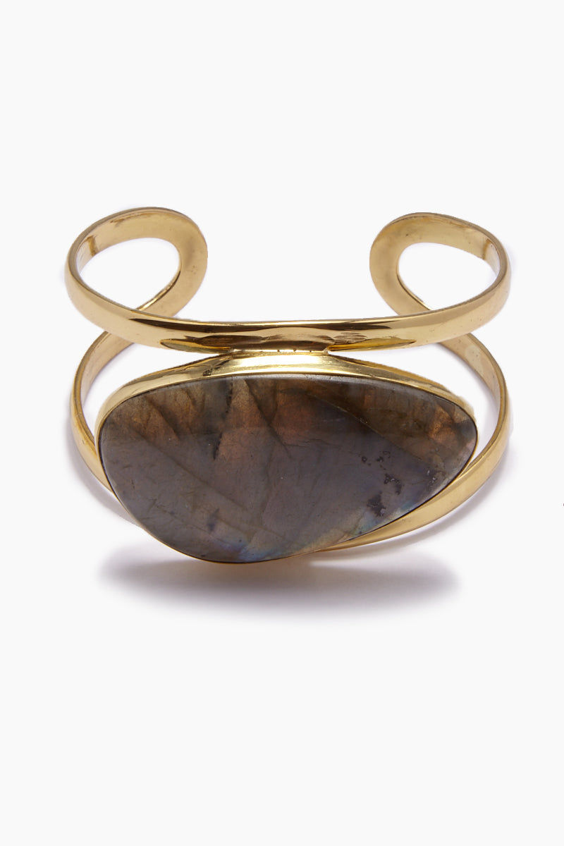 LENA BERNARD Naeva Labradorite Gold Cuff Bracelet Jewelry | Naeva Cuff - Labradorite/Gold