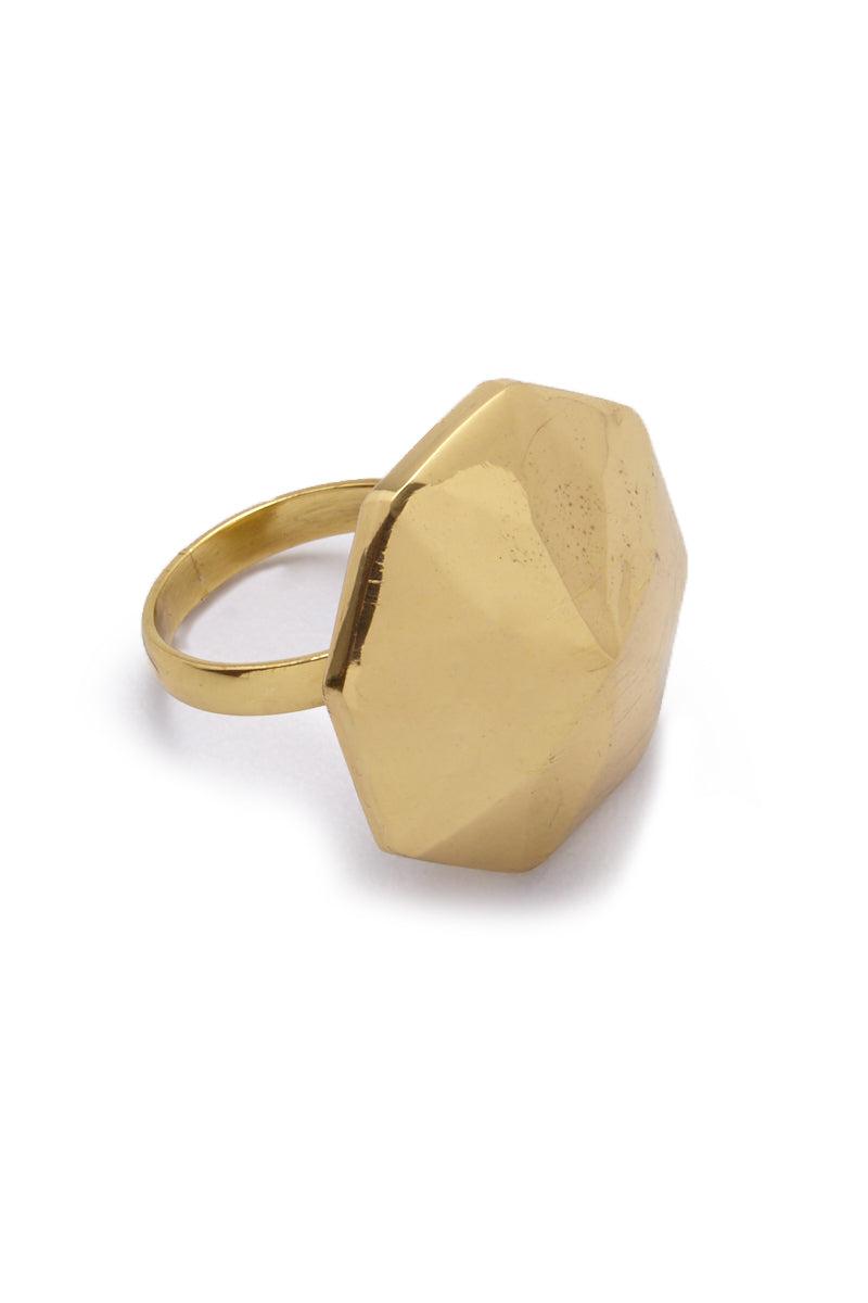 LENA BERNARD Danika Pyramid Statement Gold Ring Jewelry | Danika L Ring - Gold