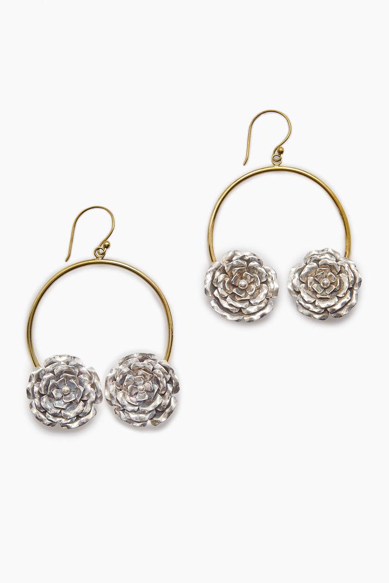LENA BERNARD 2 Roses Gold Hoop Dangle Earrings Jewelry   2 Rose Earring - Mix Gold/Silver