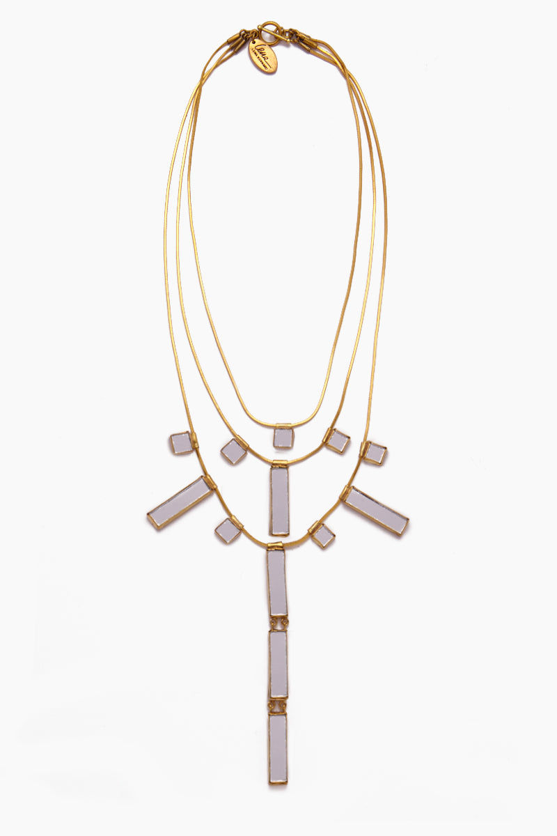 LENA BERNARD Delilah Mirrored Charm Gold Brass 3 Tier Necklace Jewelry | Delilah Necklace - Gold