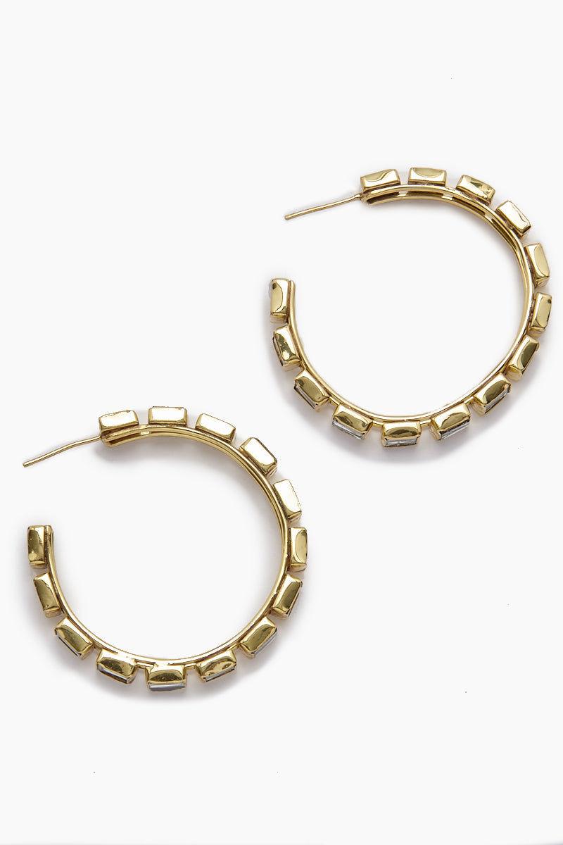 LENA BERNARD Destina Disco Mirrored Gold Hoop Earrings Jewelry | Destina Hoops - Gold
