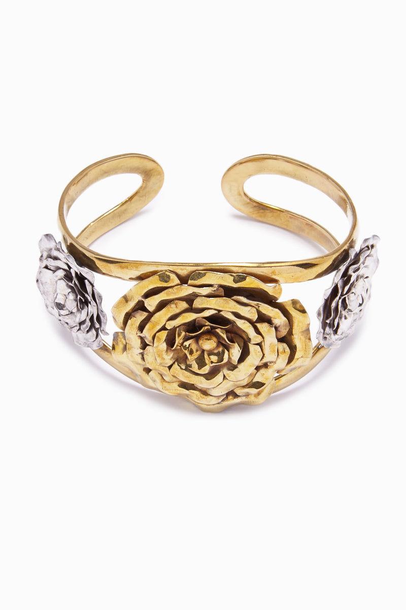 LENA BERNARD 3 Roses Gold Cuff Bracelet Jewelry | 3 Rose Cuff - Mix Gold/Silver