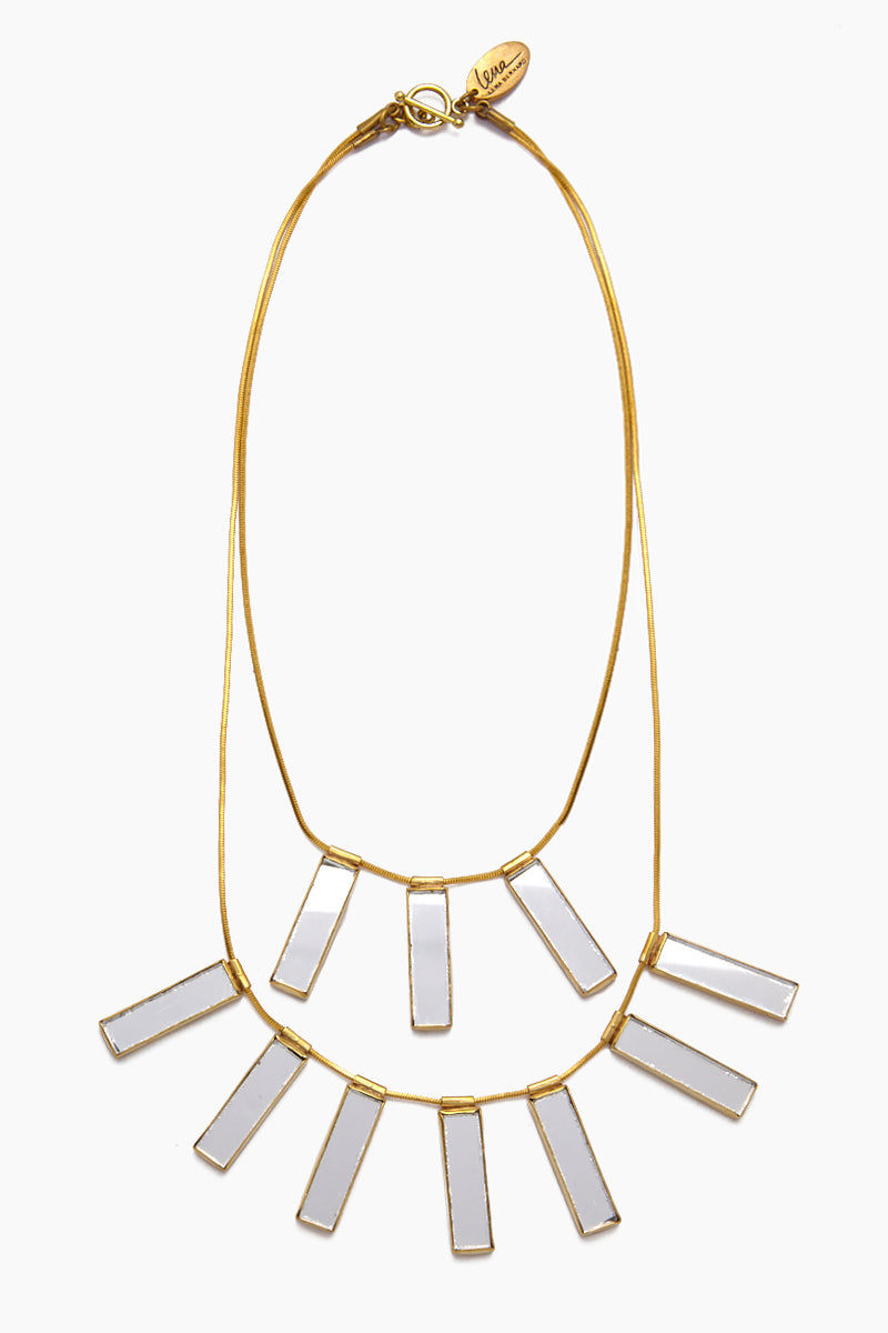 LENA BERNARD Davina Mirrored Charm Gold Brass Layered Necklace Jewelry | Davina Necklace - Gold