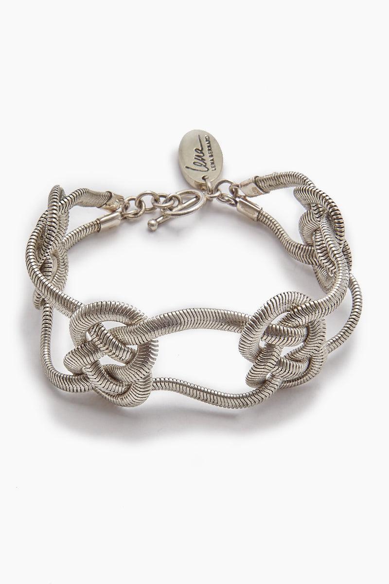 LENA BERNARD Sabha Knotted Silver Fishtail Chain Bangle Bracelet Jewelry   Sabha Bracelet - Silver