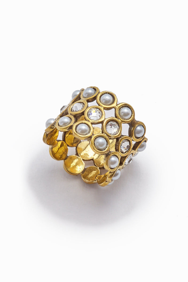 LENA BERNARD Jillian Pearl & Crystal Gold Cuff Ring Jewelry | Jilian Ring - Gold/Mix Cz & Pearl
