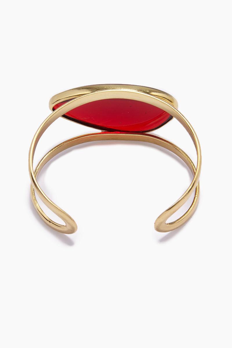 LENA BERNARD Naeva Red Quartz Gold Cuff Bracelet Jewelry   Gold & Red Quartz  Naeva Cuff - Red Quartz/Gold