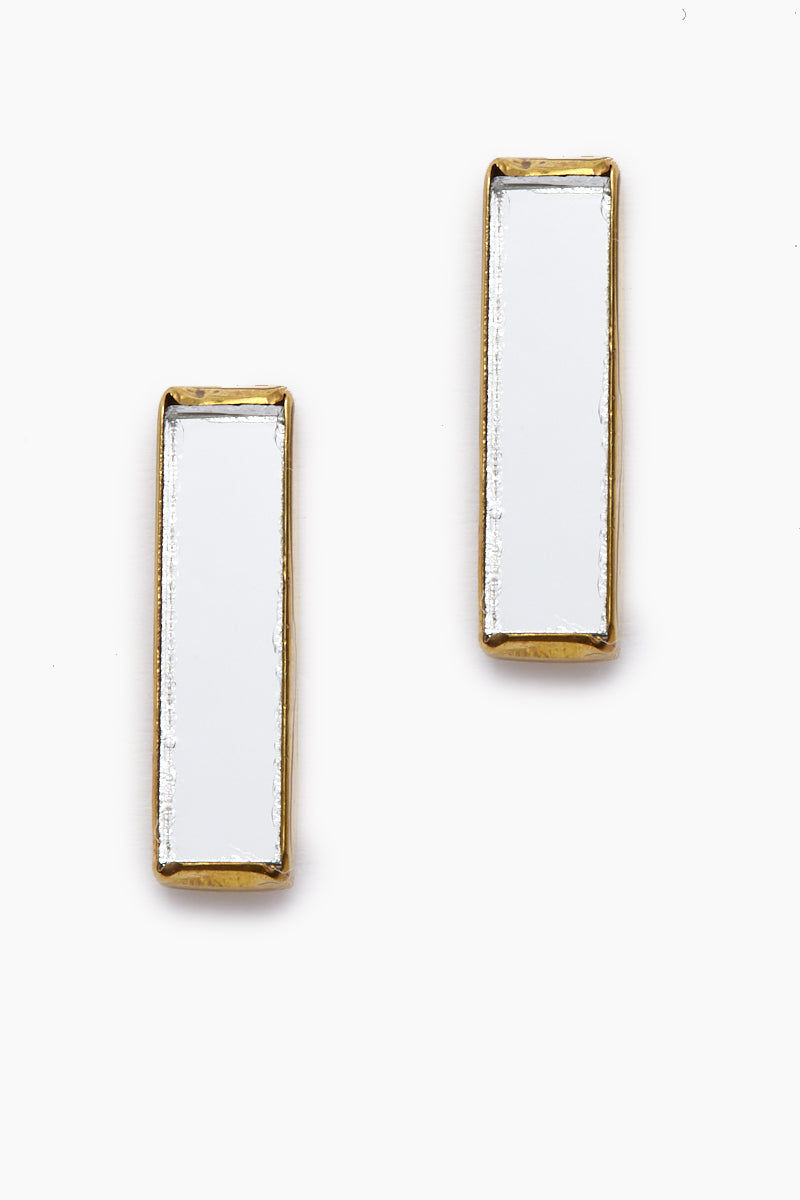 LENA BERNARD Dia Mirrored Gold Stick Stud Earrings Jewelry | Dia Studs - Gold
