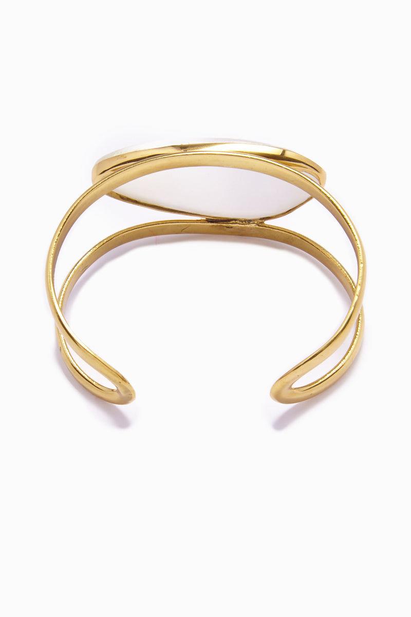 LENA BERNARD Naeva Selenite Gold Cuff Bracelet Jewelry   Naeva Cuff - Selenite/Gold