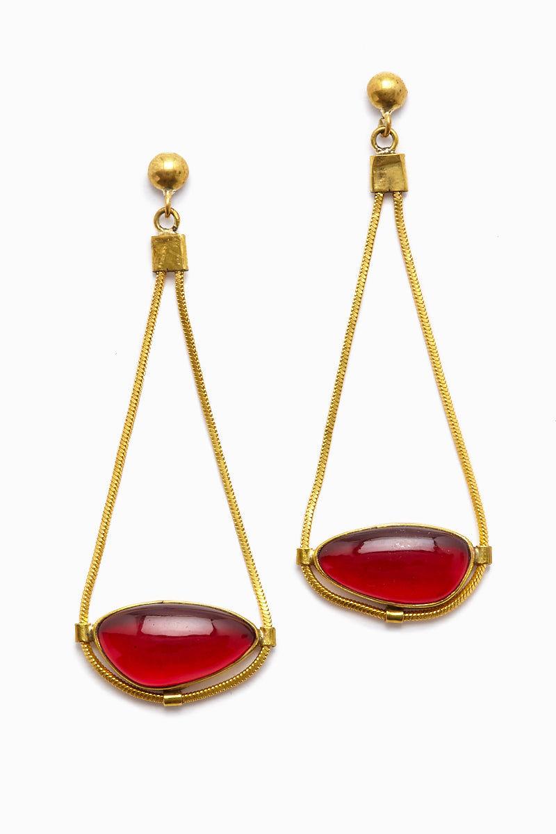 LENA BERNARD Najila Red Quartz Pendant Gold Drop Earrings Jewelry | Najila Earring - Red Quartz/Gold