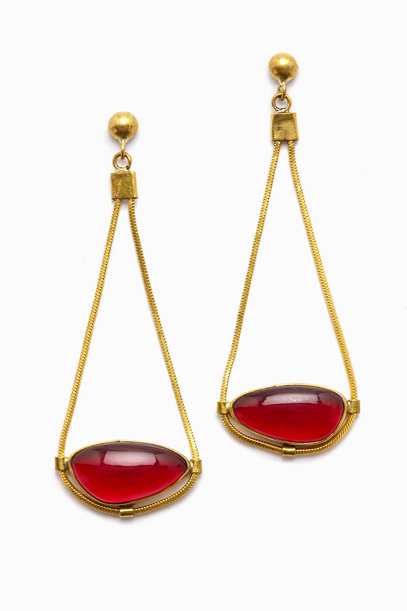 LENA BERNARD Najila Red Quartz Pendant Gold Drop Earrings Jewelry | Najila Earring - Red Quartz/Gold