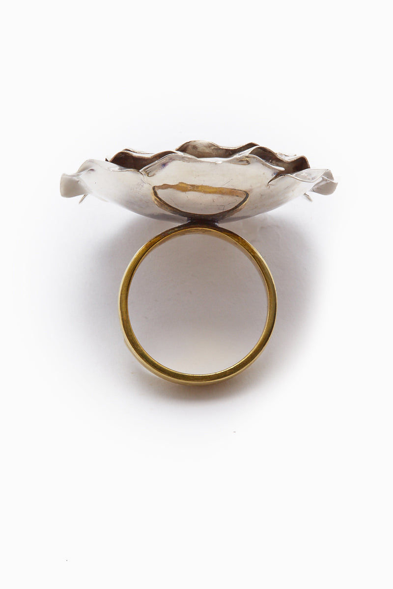 LENA BERNARD Large Silver Rose Gold Statement Ring Jewelry | Rose M ring - Mix Gold/Silver
