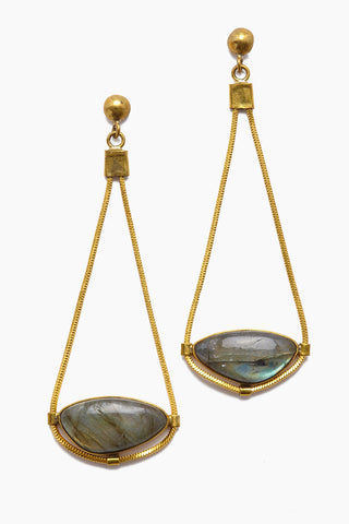 LENA BERNARD Najila Labradorite Pendant Gold Drop Earrings Jewelry | Najila Earring - Labradorite/Gold