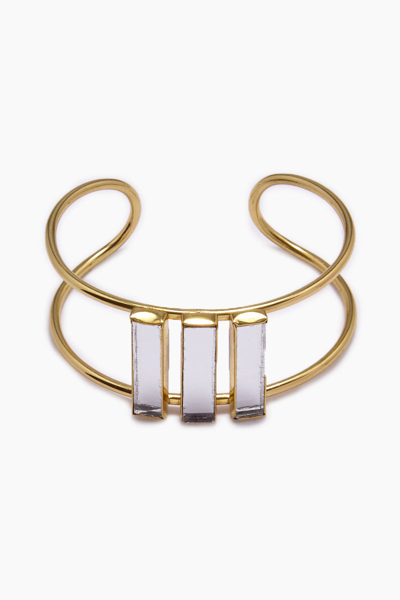 LENA BERNARD Damianis Mirrored Gold Brass Cuff Bracelet Jewelry | Damianis Cuff - Gold