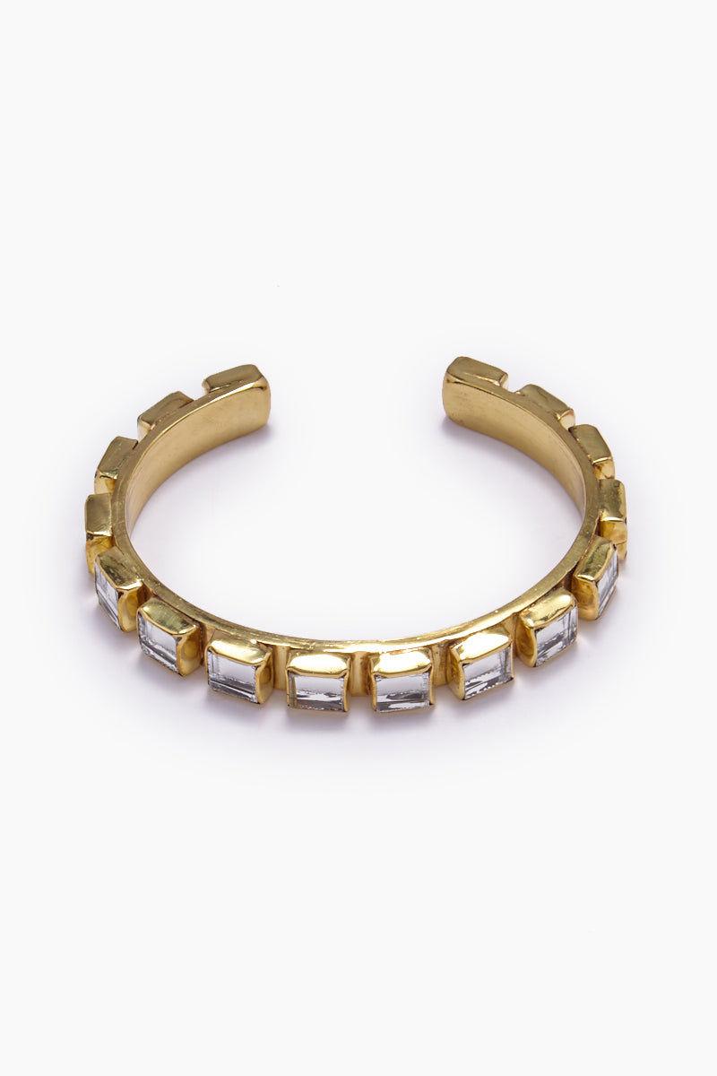 LENA BERNARD Destina Disco Mirrored Gold Brass Cuff Bracelet Jewelry | Destina Cuff - Gold