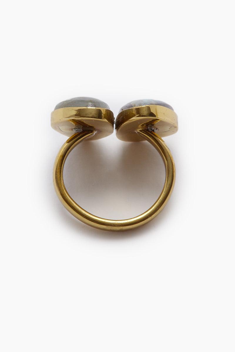 LENA BERNARD Naenia Labradorite Stone Gold Ring Jewelry | Naenia Ring - Labradorite/Gold
