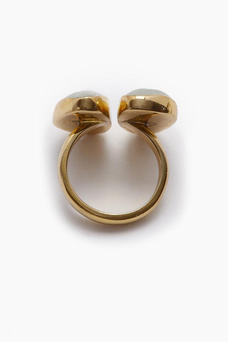 LENA BERNARD Naenia Selenite Stone Gold Ring Jewelry | Naenia Ring - Selenite/Gold