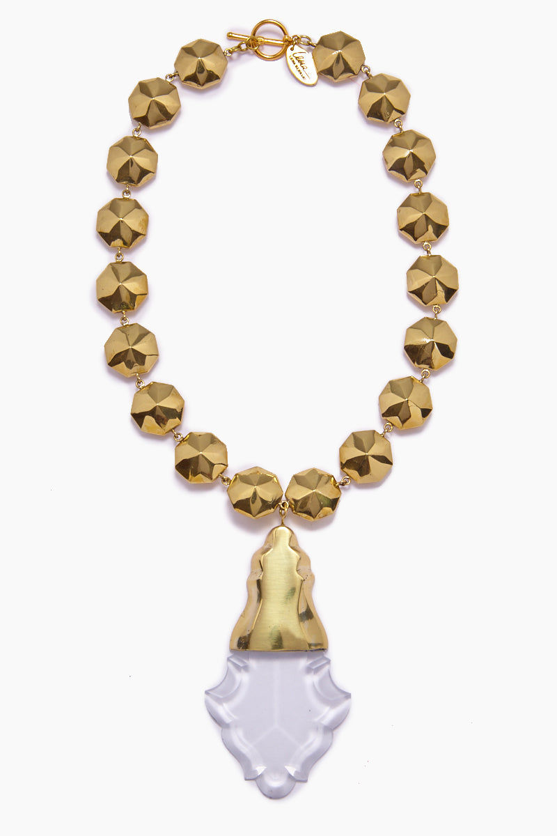LENA BERNARD Orina Gold Bauble Crystal Pendant Necklace Jewelry | Orina Necklace - Gold